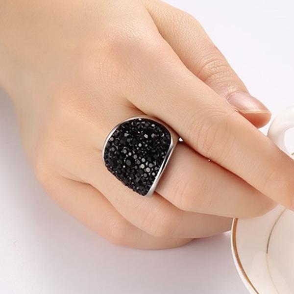 Vnox 7 Warna Cincin Kristal untuk Wanita Austria Hitam Cincin Kristal Bijoux Baja Tahan Karat Femme