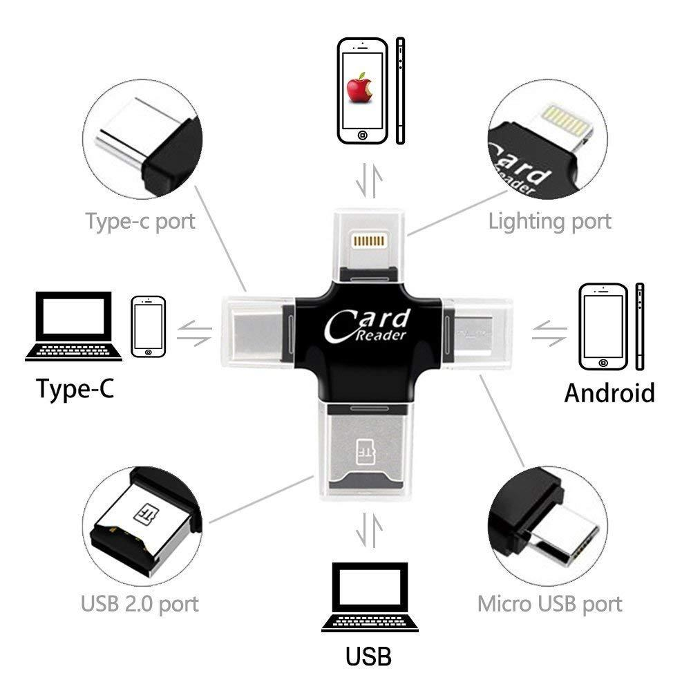 4 in 1 Card Reader Multifunction Lightning + Micro + Type-C USB Tf Card OTG Card Reader--Black