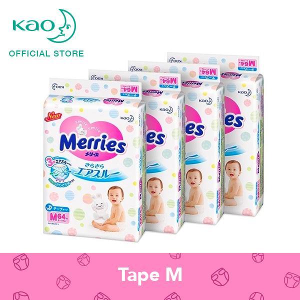 Merries Tape Diapers M64s x 4 packs (6 - 11 kg)