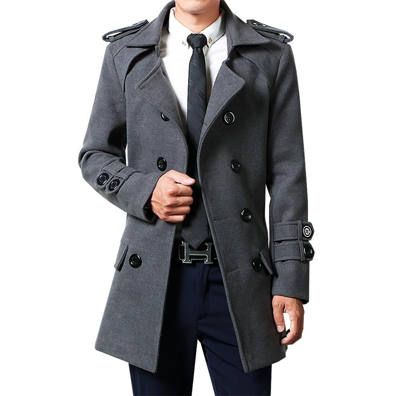 19b426d27c2 Winter Men Woolen Coat Mid-length Autumn Double Breasted Youth Trench Coat  Slim Fit Korean