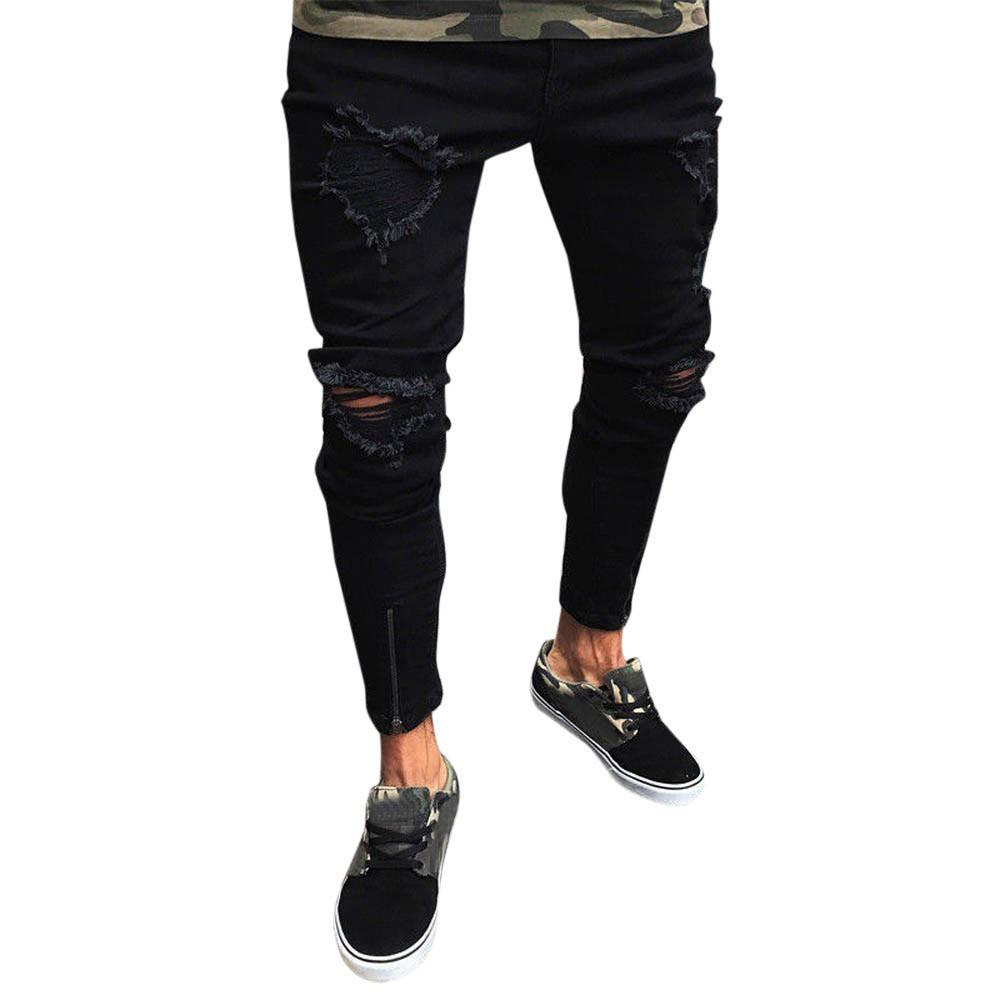 e0903121e10c chinastorenie Men Slim Biker Zipper Denim Jeans Skinny Frayed Pants  Distressed Rip Trousers