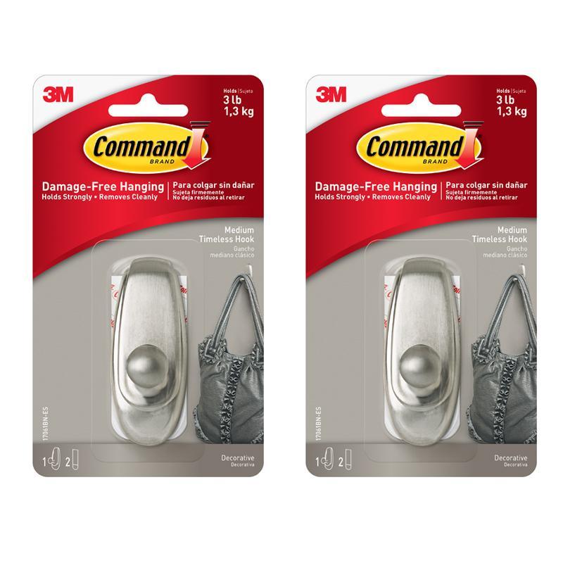 Retail Bundle Of 2 3M™ Command™ 17061Bn Timeless Medium Hook Brushed Nickel