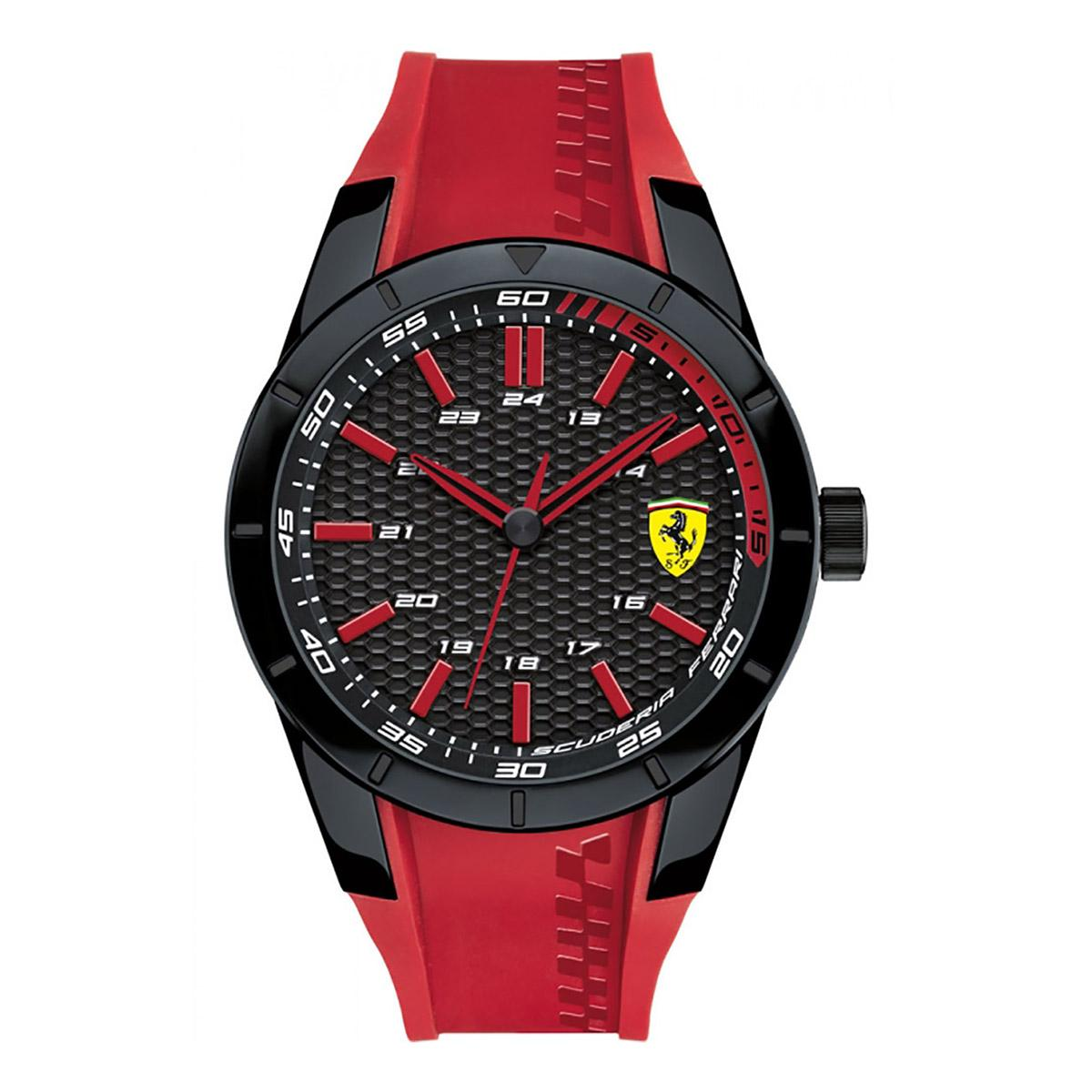 Compare Prices For Ferrari Watch Redrev Red Plastic Case Silicone Strap Mens 0830299