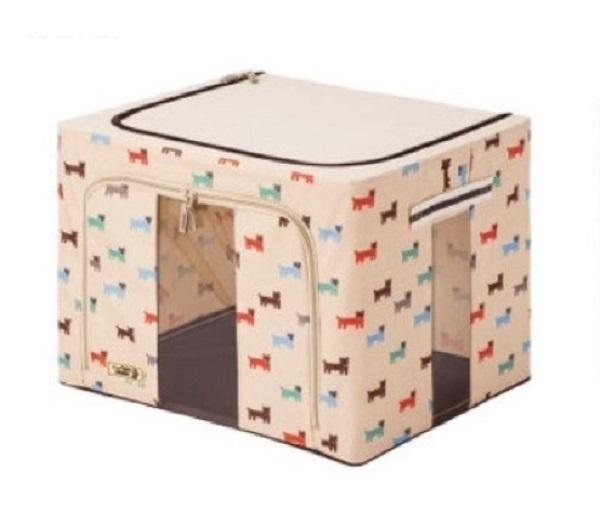 Storage Box with Zip Steel Frame Transparent Window (88L) Puppy Beige