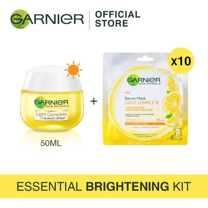 Buy [Essential Brightening Kit] Garnier Light Day Cream 50ml + Light Complete Serum Mask (x10) Singapore
