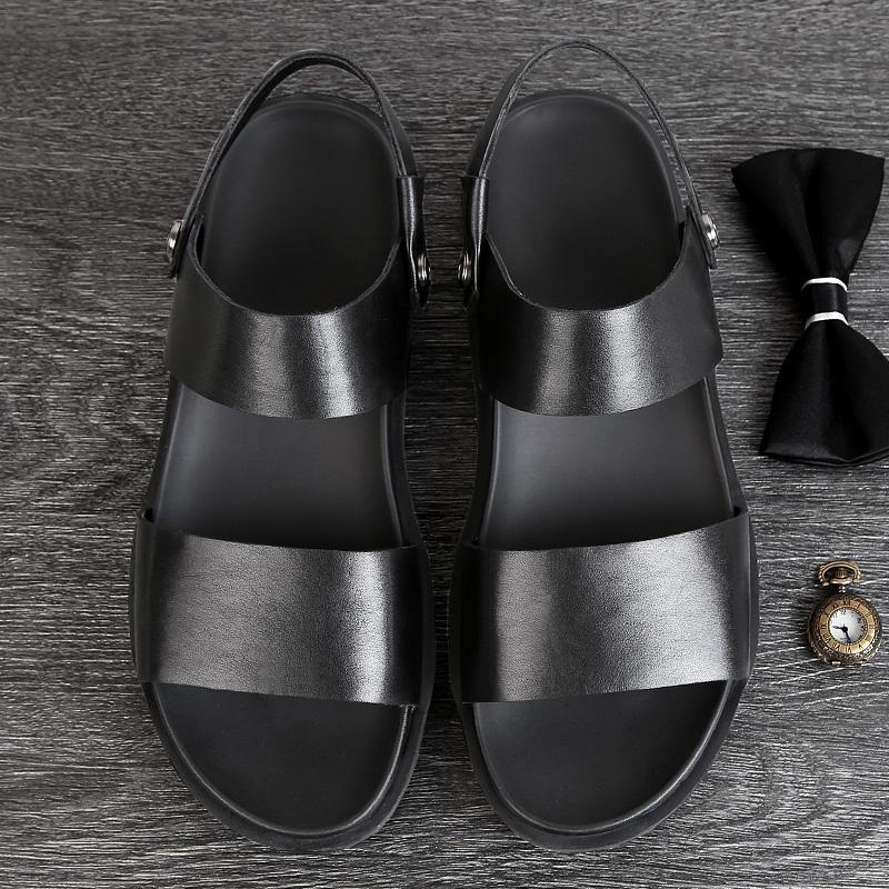 Price Men S Korean Style Plus Size All Match Leather Beach Sandals Oem China