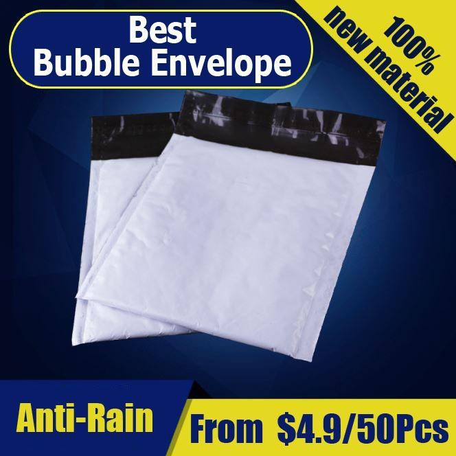 Price Comparisons 【20Cm X 25Cm】【50 Pcs】White Plastic Polymailers Bubble Wrap Envelope Packaging Materia Bubble Envelope Tape Courier Bag