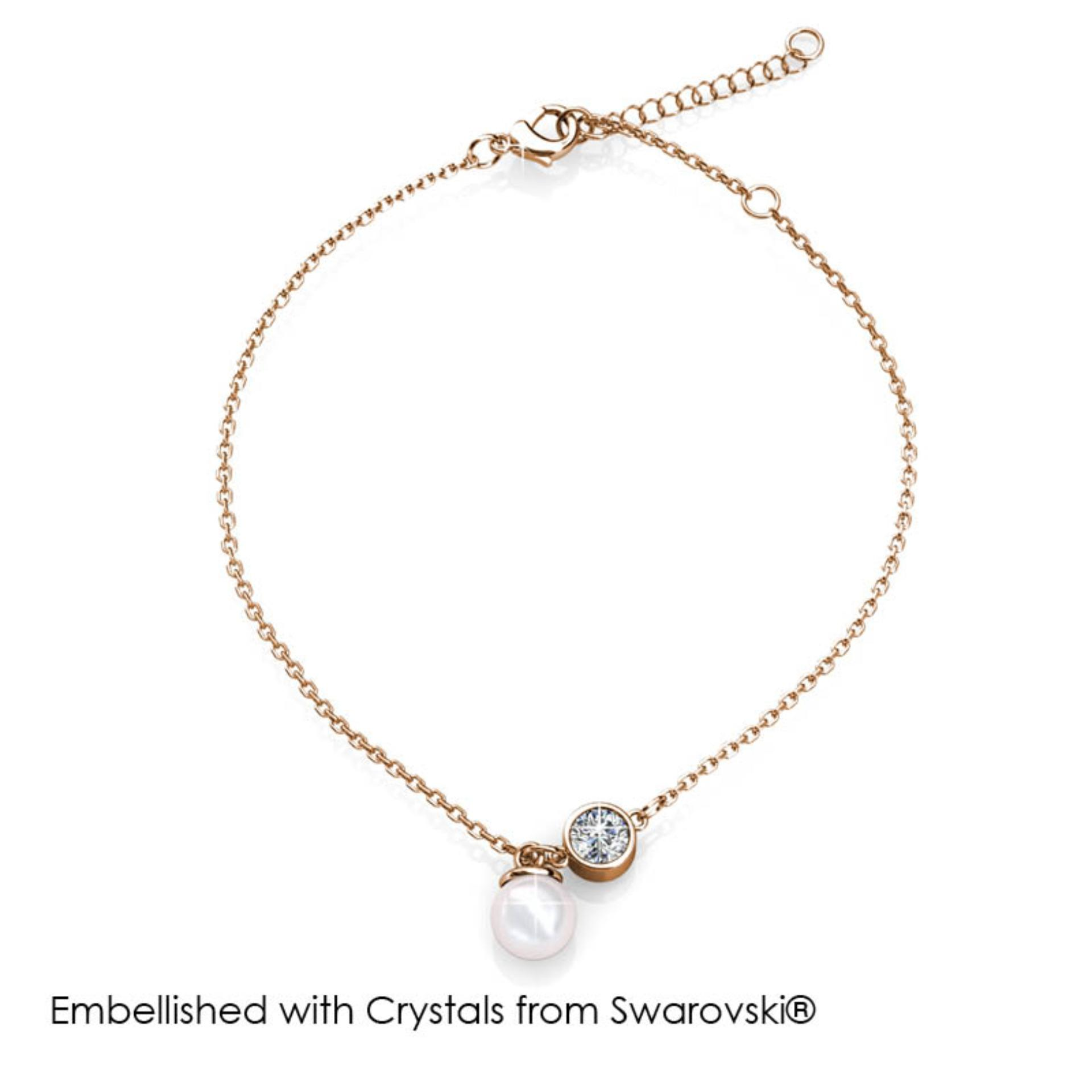 Crystal Pearl Anklet (Rose Gold)- Embellished with Crystals from Swarovski®
