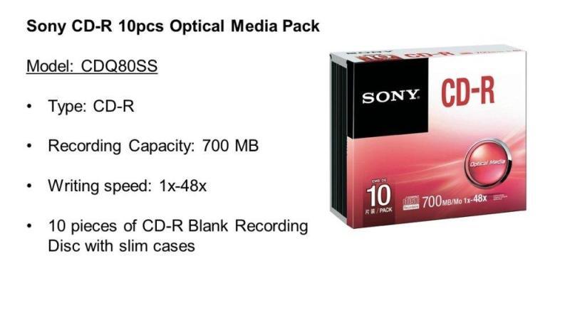 SONY CD-R / CDR / CD R SONY 700mb / 1x-48x WITH SLIM CASE (10 UNIT / BOX)