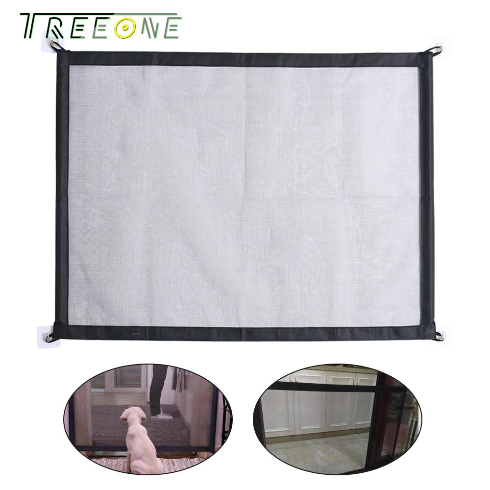 Treeone Magic Gate Pet Safety Guard Plastic Dog Portable Folding Enclosure Install For Kitchen Stairs Pet Dog Isolated Fences