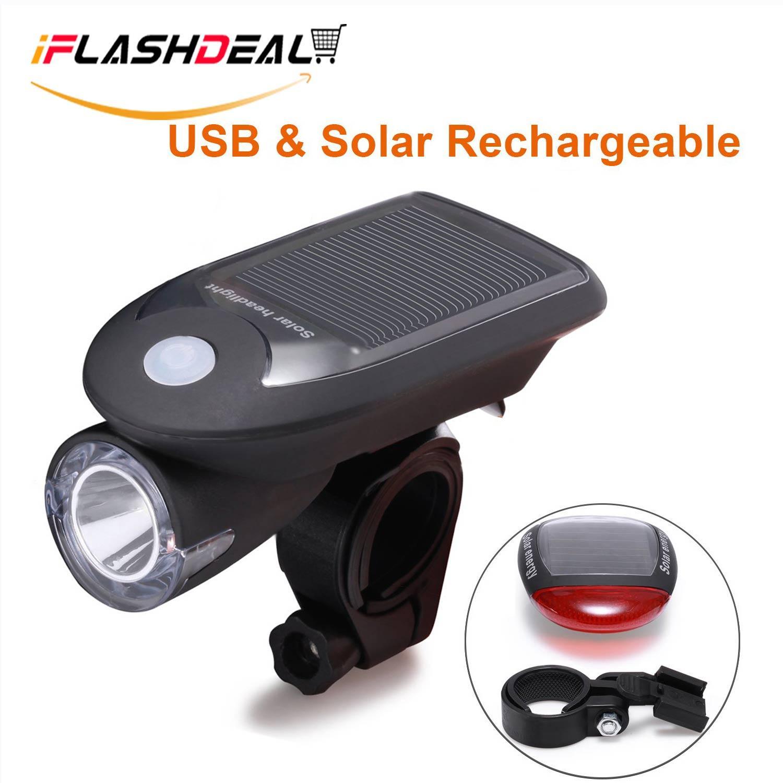Bike Lights Reflectors Buy At Best Lampu Belakang Sepeda 5 Led 4 Mode Cahaya Plus Usb Iflashdeal Light Set Rechargeable Bicycle Headlight Solar Powered Front