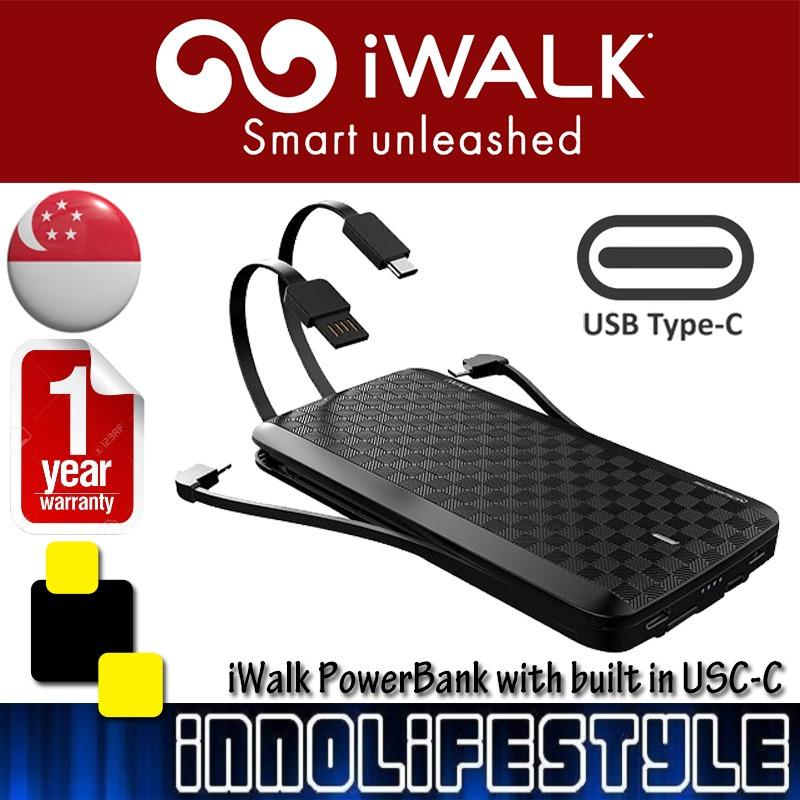 Best Offer Iwalk Scorpionx 8000Mah Powerbank With Built In Usb C Micro Usb And Lightning Cable Black