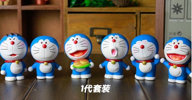 Lucu Doraemon Action Figure mainan Jingle Cat Sihir Pocket Future Props Kartun Komik Figurine Koleksi Dekorasi hadiah 6pcs / set Anggrek Gray