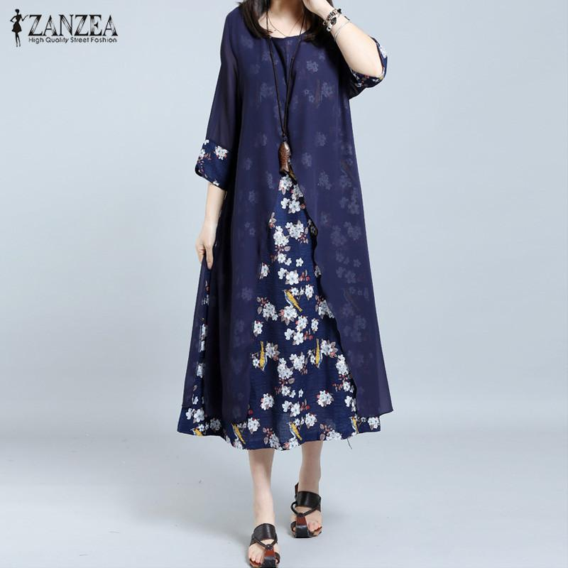 Sale Zanzea Women Retro Floral Print Splice Loose Casual Long Shirt Dress Summer Ladies 3 4 Sleeve Vestido Kaftan Plus Size M 5Xl Intl Zanzea On China