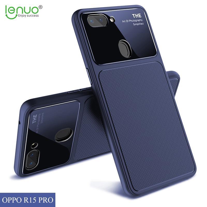 Lenuo TPU + Glass Case untuk Oppo R15 Silikon Lembut Kaca Antigores Shockproof 3D Berlian Penutup Pola untuk Oppo R15 Mimpi Cermin edisi