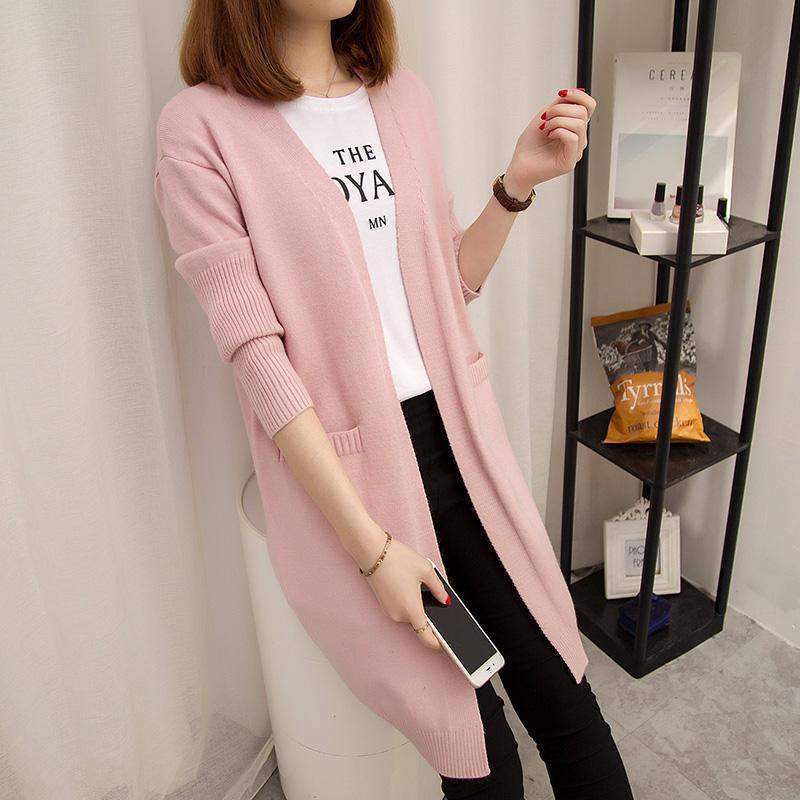 Musim semi dan musim gugur model setengah panjang kardigan Jaket perempuan Kemeja rajut 2019 model baru Gaya Korea netral longgar merah murid sweater tebal