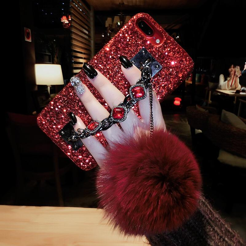 For OPPO A59 / F1S Back Covers Girls Womens' Bling Glitter Cases For IphoneX Luxury Fur Ball Chain