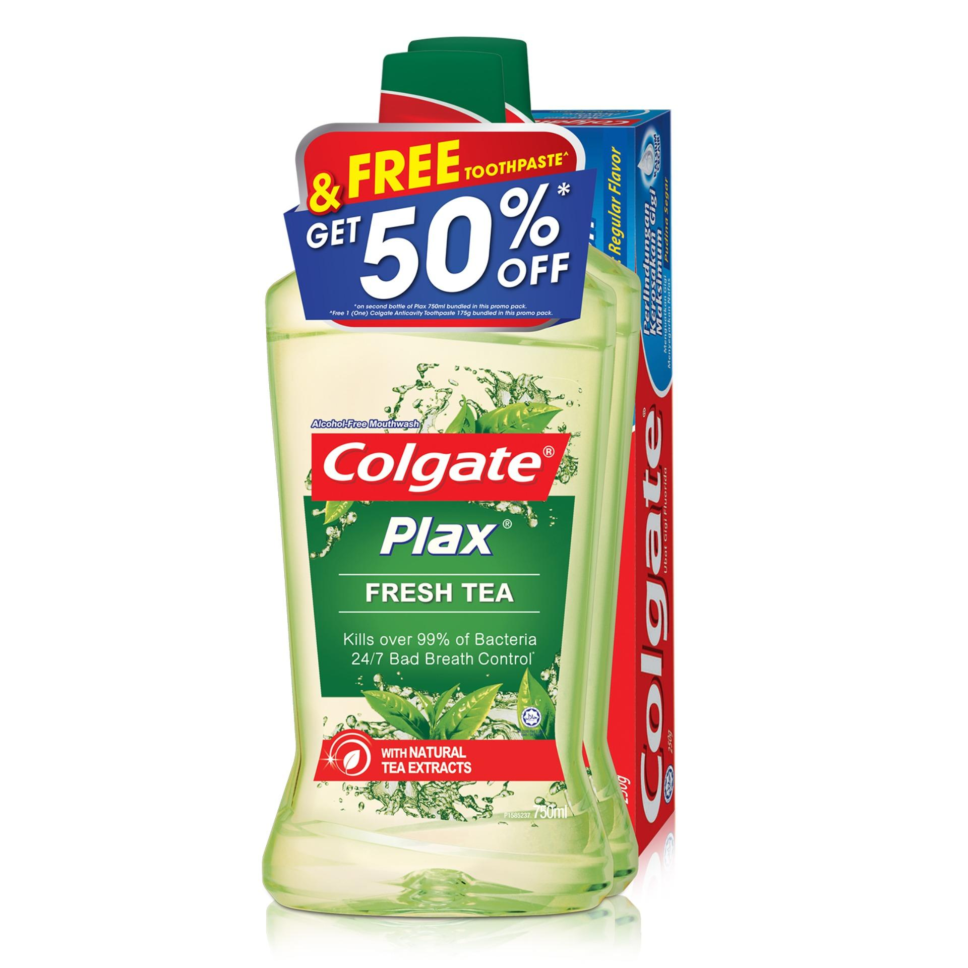 Colgate Plax Fresh Tea Mouthwash 750Ml Twinpack Free Colgate 175G Toothpaste Reviews