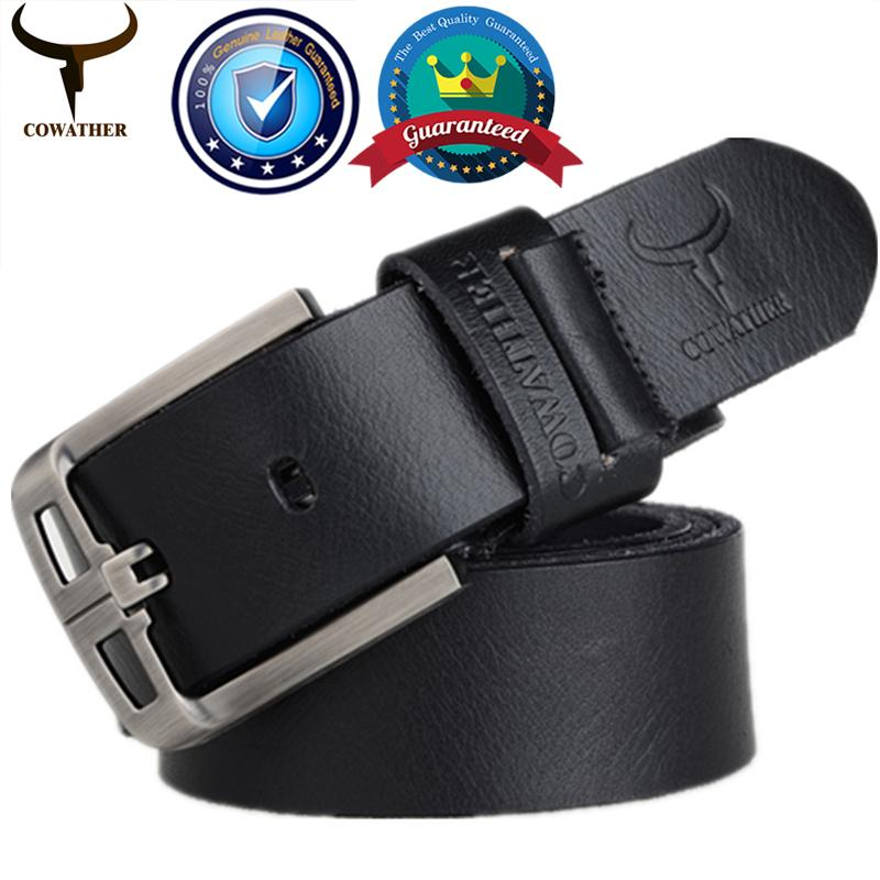 Get Cheap Cowather Men S Belt Top 100 Cow Cowhide Leather Belts For Men Fashion Alloy Pin Buckle Full Grain Male Strap Waistband Jeans Belts Trims To Cut
