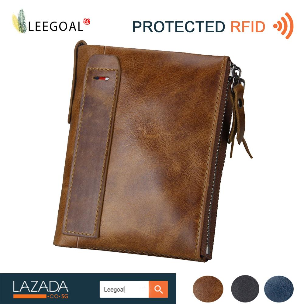 leegoal Men RFID Blocking Wallet Genuine Leather Double Zipper Bifold Wallet -Coin Card Holder,