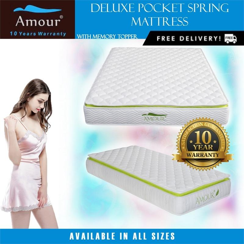 Sale Amour® Pocket Spring Mattress With Memory Foam Top Single Super Single Queen King Size Available Free Delivery 10 Years Warranty Singapore Cheap