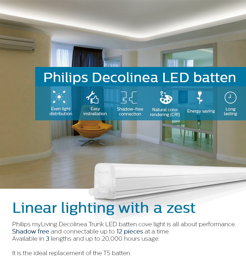 Specifications Of Philips 31094 Trunkable Linea Led Batten Wall Light Cove 120cm 12w 1000lm 4000k Cool White