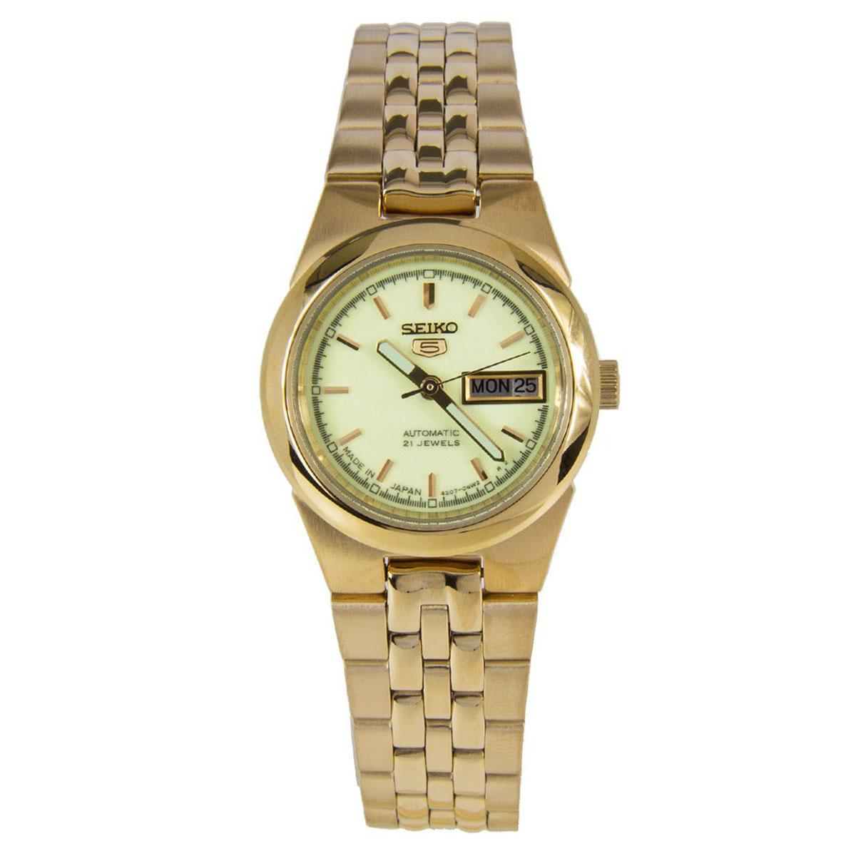 Seiko Watch 5 Automatic Gold Stainless-Steel Case Stainless-Steel Bracelet Ladies JAPAN SYMG60J1