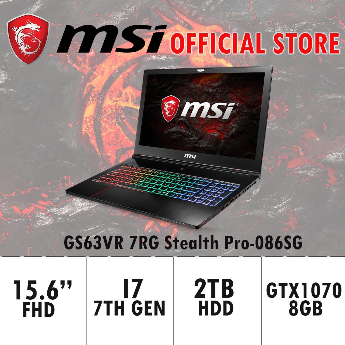 MSI GS63VR 7RG Stealth Pro-086SG (I7-7700HQ/16GB DDR4/256GB SSD +2TB HDD/8GB NVIDIA GTX1070 GDDR5 MAX-Q) GAMING LAPTOP