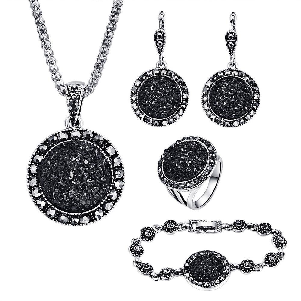 Rhinestone Hitam 4 Pcs Wanita Set Perhiasan Anting dan Kalung Manik-manik Cincin