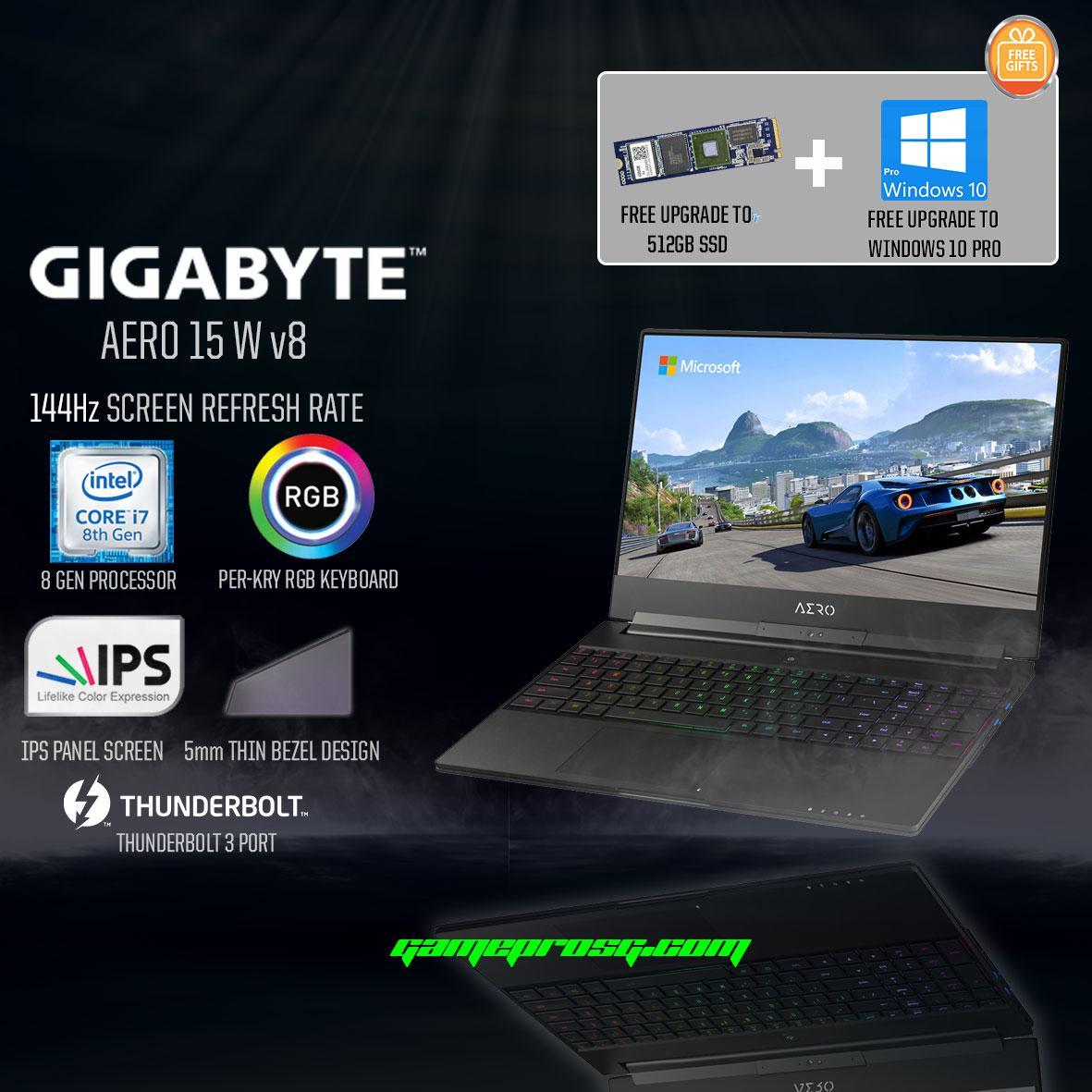 8th Gen GIGABYTE AERO 15W v8 (8th-Gen GTX 1060 6GB GDDR5) 144Hz Gaming Laptop