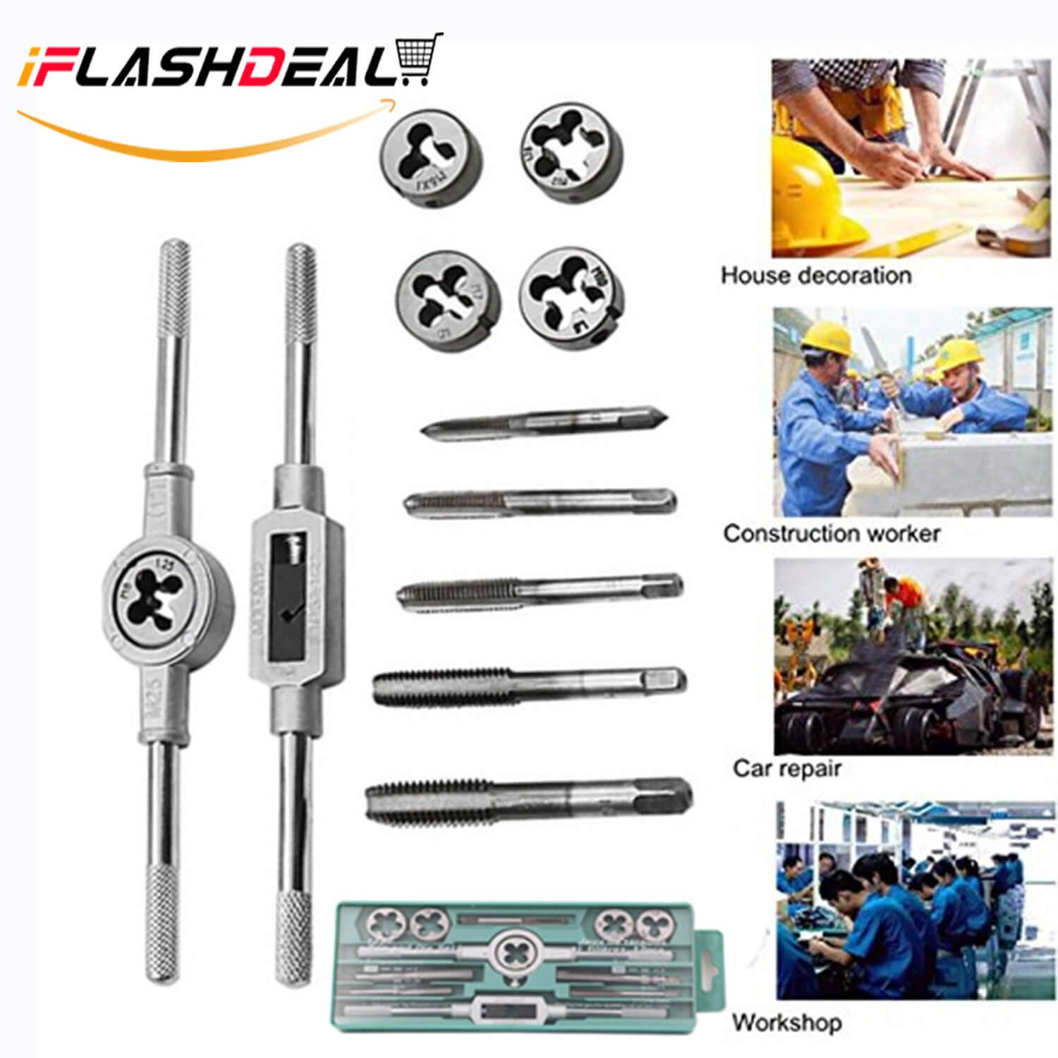 iFlashDeal 12PCS Tap and Die Set Metric Tap Wrench Combination Alloy Steel Hand Tools Metric Size for Wood Plastic Soft Metal Steel Philippines