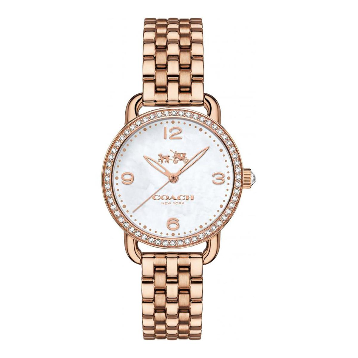 Promo Coach Watch Delancey Rose Gold Stainless Steel Case Stainless Steel Bracelet Ladies 14502479