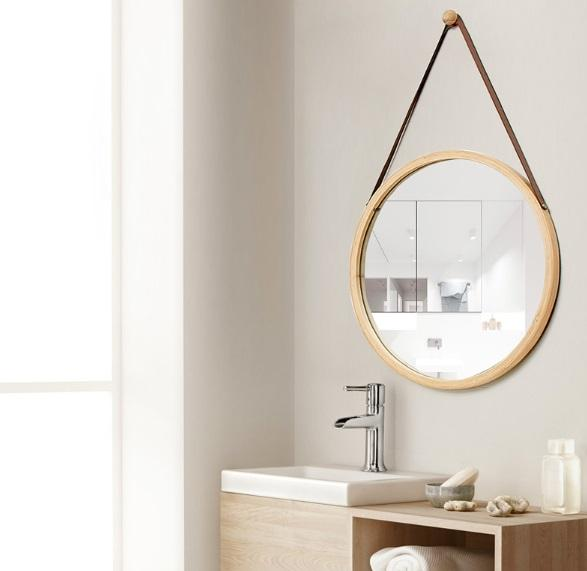 Round Wall Mirror with Belt