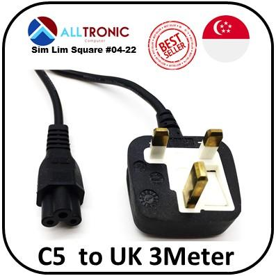 C5 (Notebook) Laptop  to UK 3Pin Power Cable 3Meter with Safety Mark