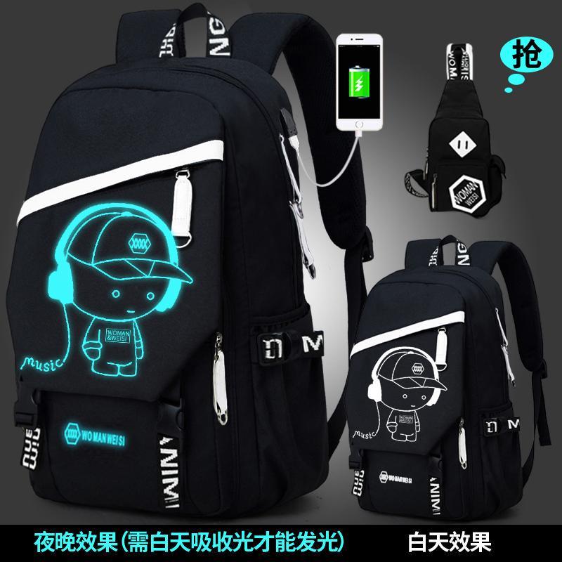 Womanweisi Tas pria fashion populer casual ransel Kapasitas Besar murid Tas laptop kepribadian bersablon Tas Ransel