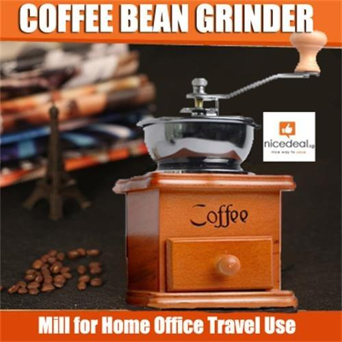 Mini Wooden Manual Coffee Bean Grinder Burr Spice Mill For Home Office Travel Use Free Shipping