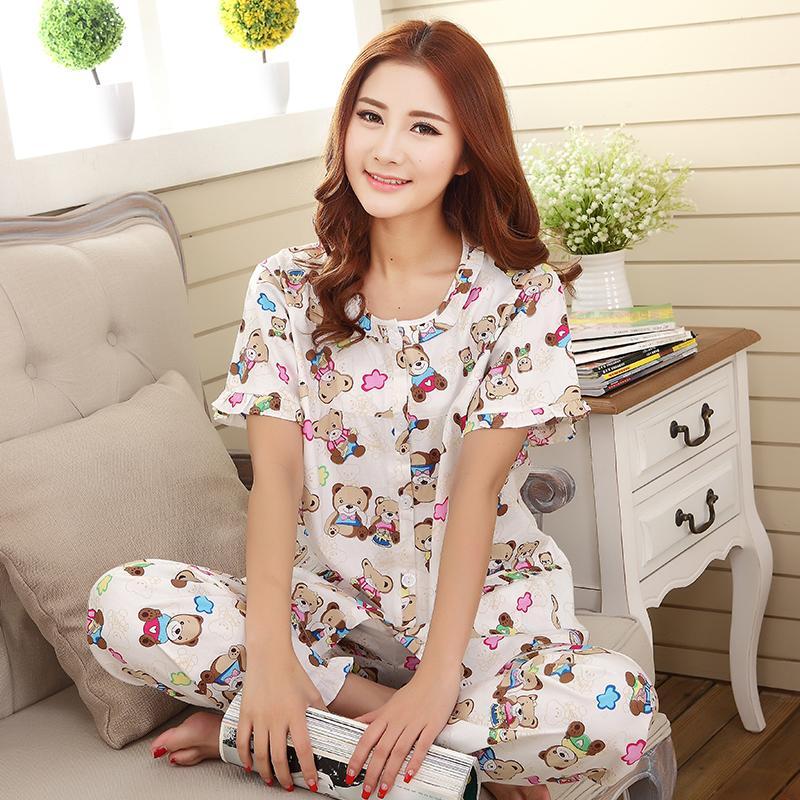 825cbd4903 Cotton women cardigan summer pajama pure cotton Women s sleepwear (Red Moon  flower (short sleeved