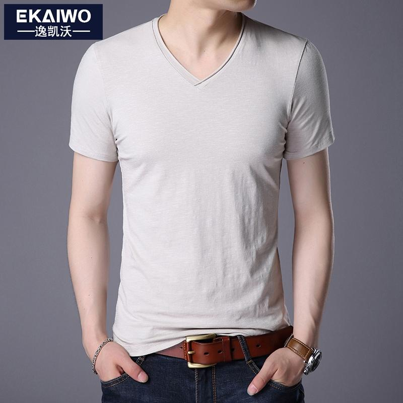Solid color V-neck Slim fit base shirt short sleeved T-shirts