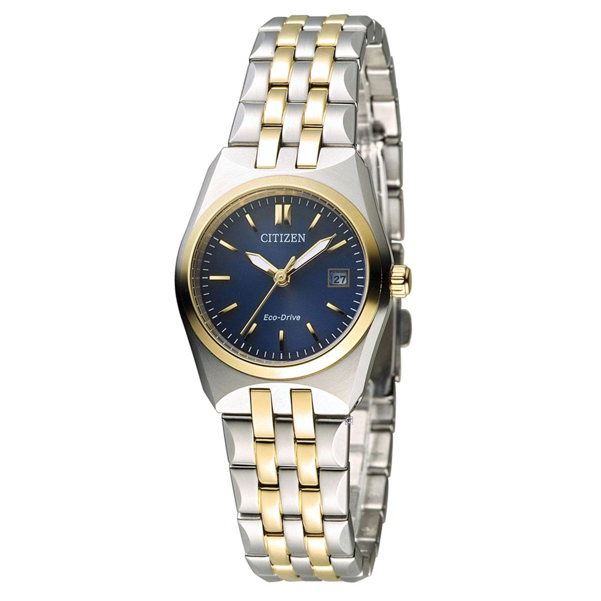 Review Citizen Citizen Eco Drive Multicolored Stainless Steel Case Two Tone Stainless Steel Bracelet Ladies Ew2294 61L Citizen