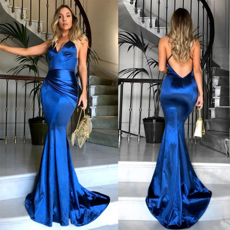 Shop For Deep Deep V Strap Women S A Line Evening Gown