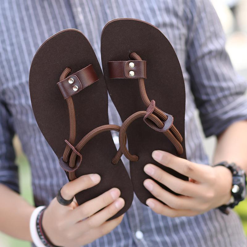Kailijie Sandal Bakiak Sandal Bakiak Sandal Pria Asli Kulit Tali Elastis Lipat Flop Pantai Sandal Sepatu-Internasional