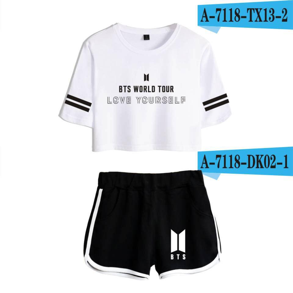 Baru BTS Anti Peluru Youth League Tur Dunia Mencintai Diri Sendiri Wanita Celana Pendek Setelan Perempuan