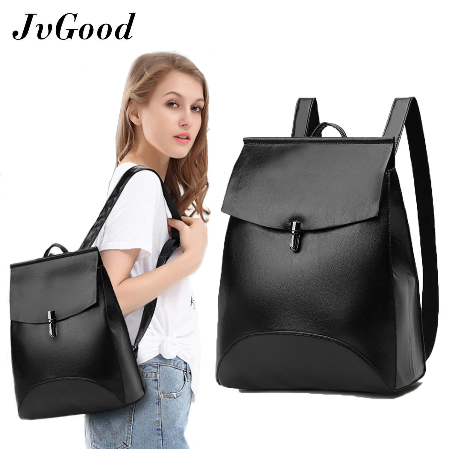 Jvgood Women S Pu Leather Backpack Purse Ladies Casual Shoulder Bag Sch**L Bag For Girls Promo Code