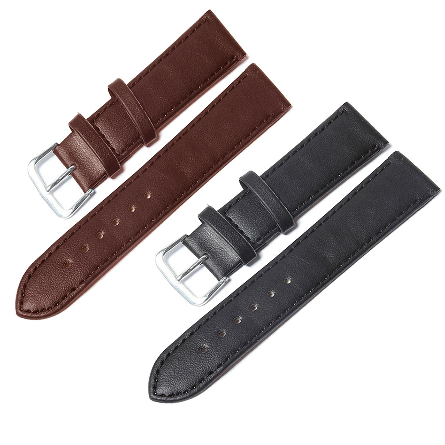 2 Pcs  Thin PU Leather Adjustable Replacement Watchband Watch Band Strap Belt for 20mm Watch Lug Black + Brown Malaysia