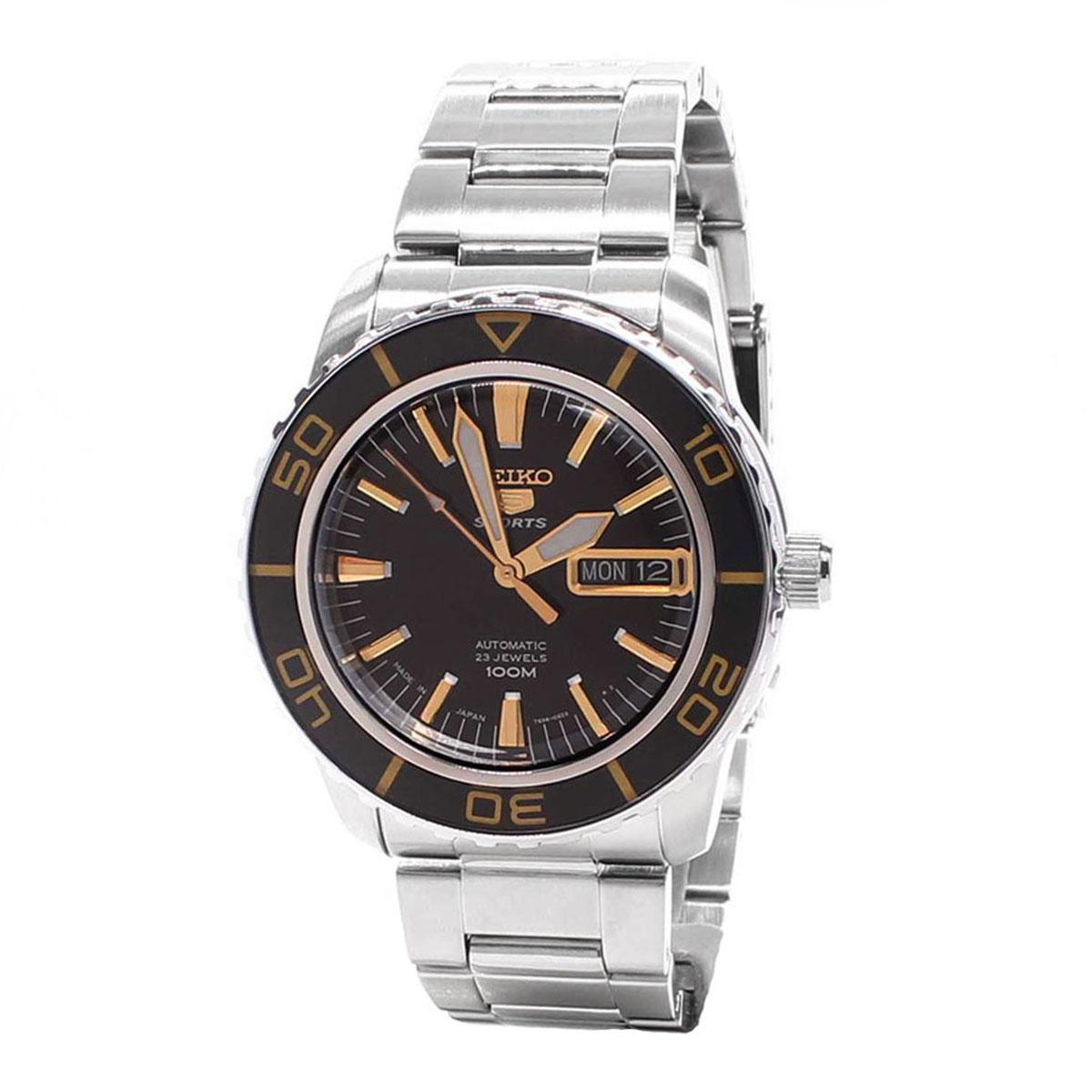 Seiko 5 Sports Silver Stainless-Steel Case Stainless-Steel Bracelet Mens JAPAN SNZH57J1