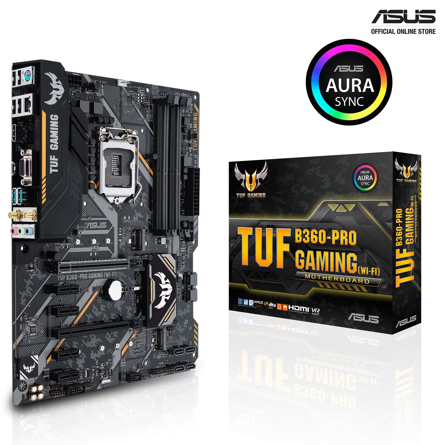 ASUS TUF B360-PRO GAMING(WIF-FI) Intel B360 ATX gaming motherboard with  Aura Sync RGB LED lighting, DDR4 2666MHz support, 32Gbps M 2, Intel Optane