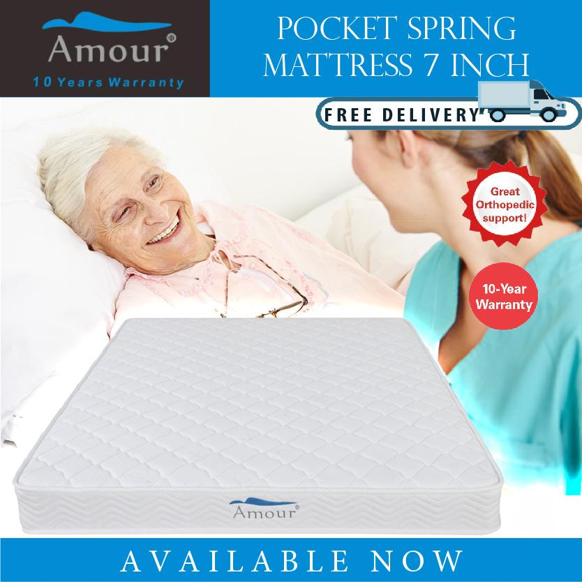 AMOUR BRAND 7 inch Single Size/Queen Size Pocket Spring Mattress 10 Years Warranty Best in Lazada