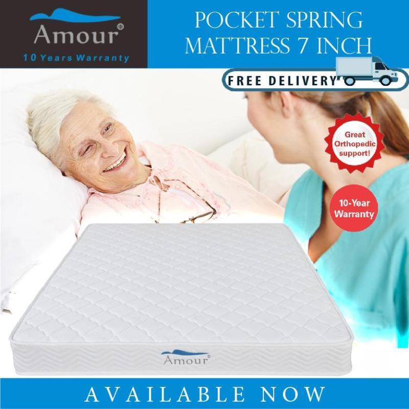 AMOUR BRAND 7 inch Single Size/Queen Size Pocket Spring Mattress 10 Years Warranty Best in Lazada