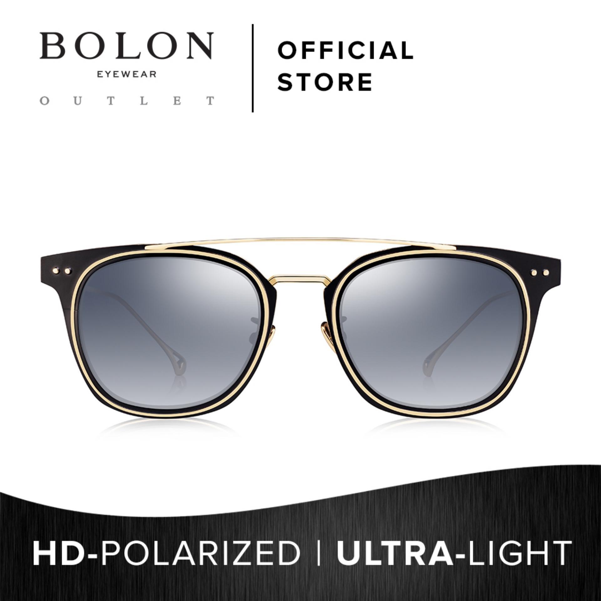 50d8d38ee4c BOLON Eyewear Unisex Polarized Square Sunglasses Larry BV1003 Black Gold