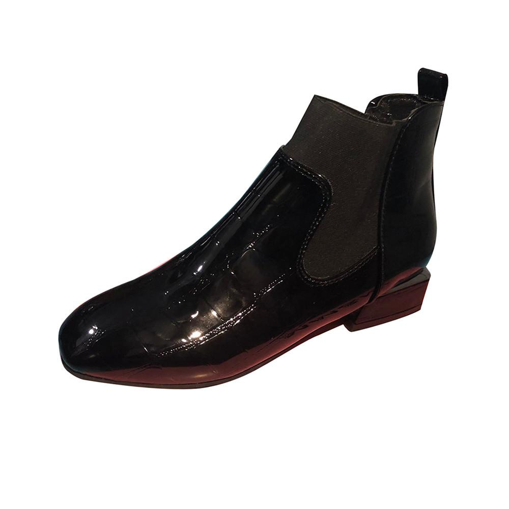 Teresastore Women Square Toe Thick Heel Slip On Boots Casual Patent Leather Martin Shoes By Teresastore.